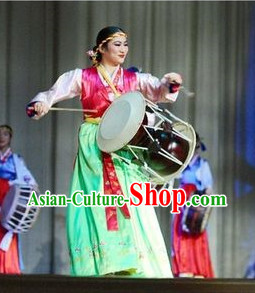 Korean Traditional Drum Dancing Costumes and Headpiece for Women