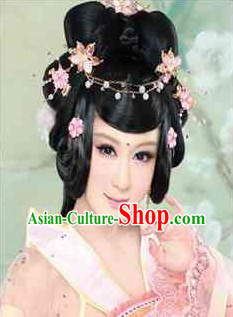 Chinese Traditional Black Wig and Hair Accessories
