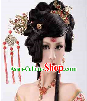 Chinese Wedding Bridal Black Wig and Hair Accessories