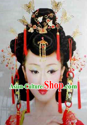 Chinese Wedding Black Wig and Hair Accessories