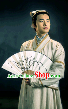 Chinese Traditional Scholar Hanfu Costumes and Headwear