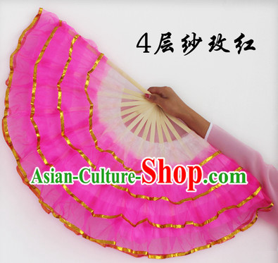 Four Layers Pink Hands Dance Fan