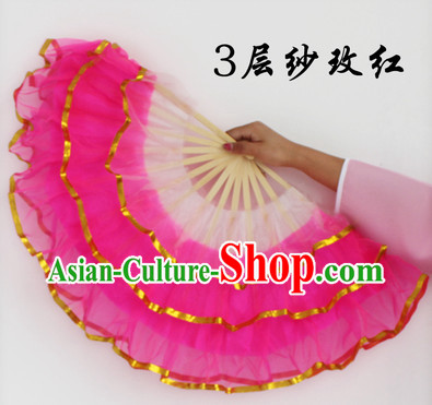 Three Layers Pink Dance Fans