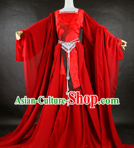 Pure Red Fairy Chinese Costumes