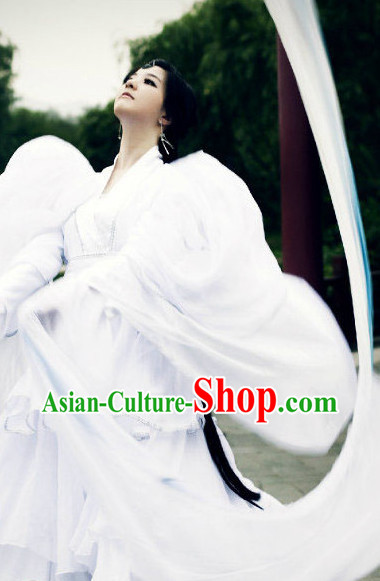 Pure White Chinese Classical Dancing Costumes