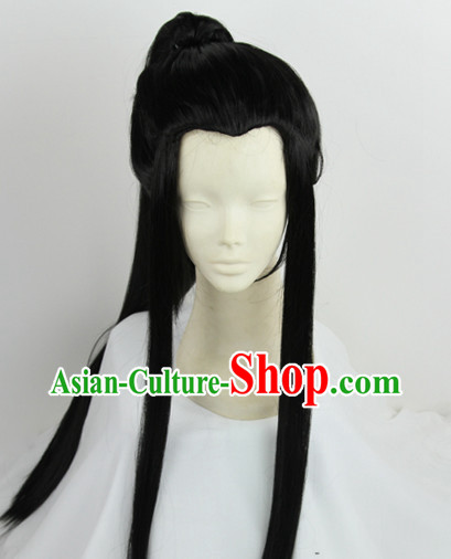 Chinese Traditional Swordsman Black Hair Wig
