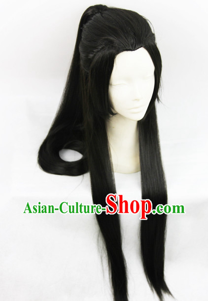 Chinese Fashion Long Black Wig Hairpieces for Men