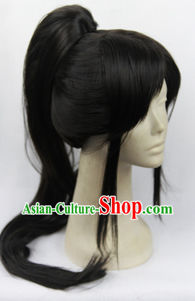 Traditioal Chinese Black Wuxia Long Wig