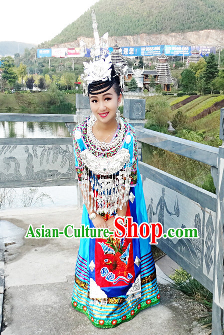 China Miao Minority Ethnic Clothes and Silver Accessories for Women