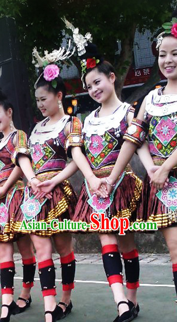 China Miao Minority Ethnic Dress and Silver Accessories for Women