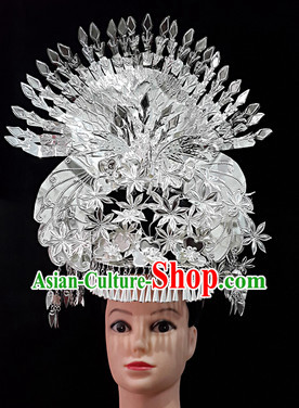 China Guizhou Province Ethnic Miao Silver Peacock Hat