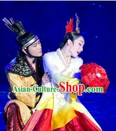 Korean Stage Dance Costumes and Headwear for Men and Women