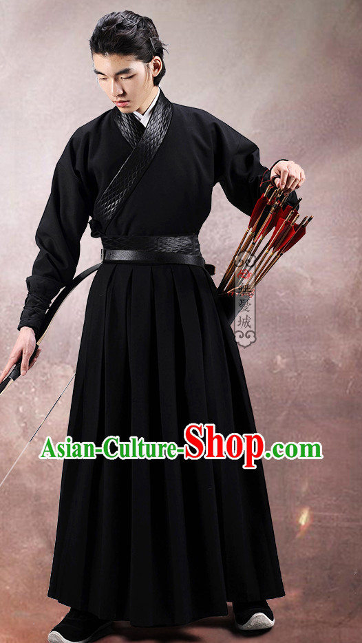 Chinese Traditional Black Archer Hanfu Uniform for Men