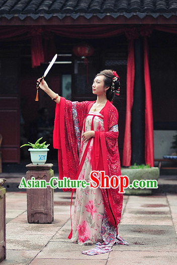 Chinese Traditional Red Hanfu Clothes with Wide Sleeves