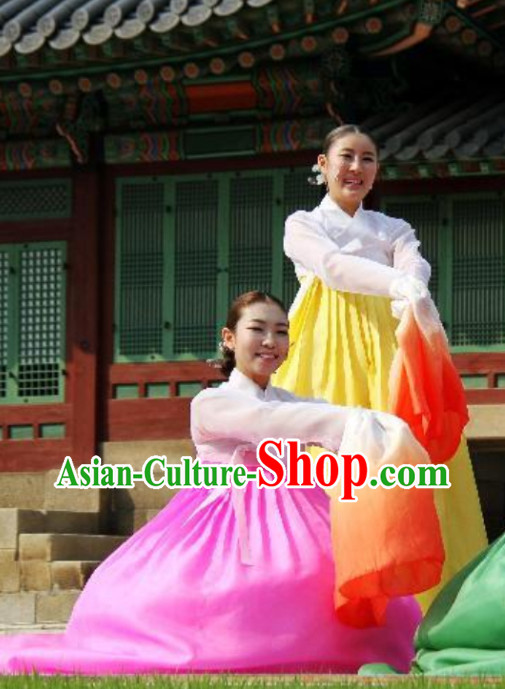 Color Change Transition Korean Long Sleeves Clasical Dancing Costumes for Women