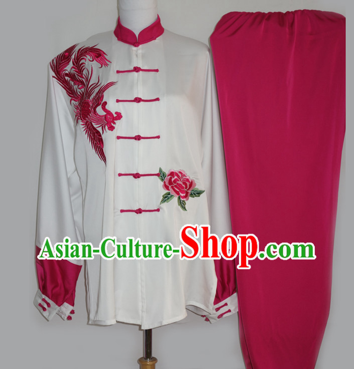Top Embroidered Phoenix Kung Fu Pants and Blouse Complete Set for Women