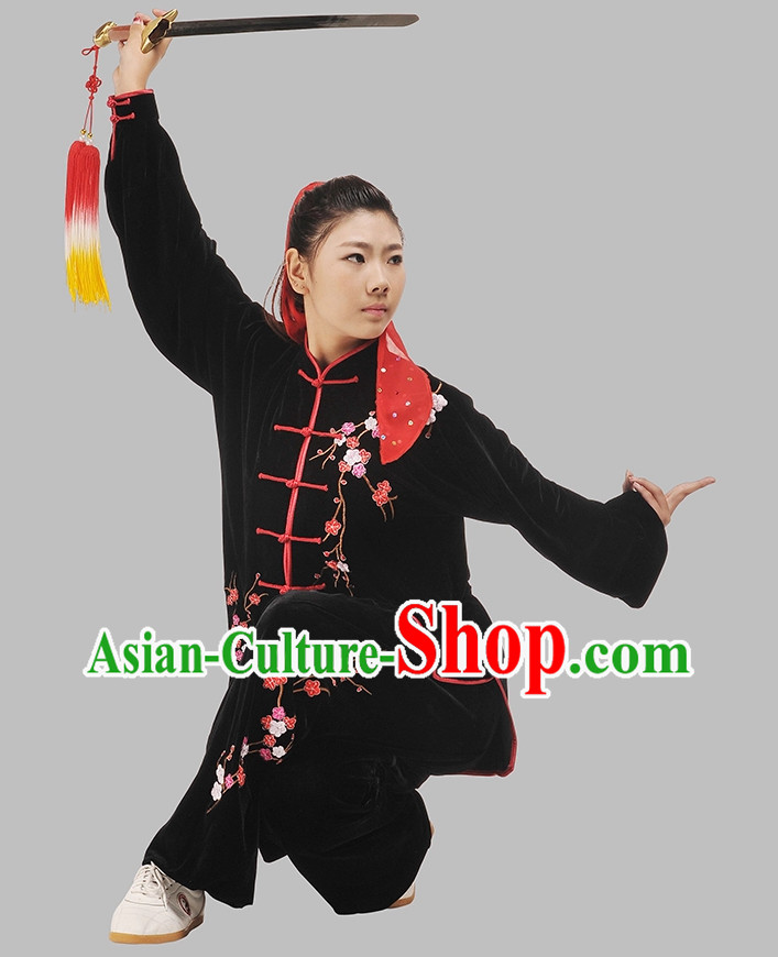Embroidered Plum Blossom Kung Fu Pants and Blouse Complete Set for Women