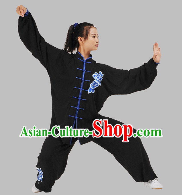 Black Top Velvet Embroidery Floral Kung Fu Suit Complete Set for Women