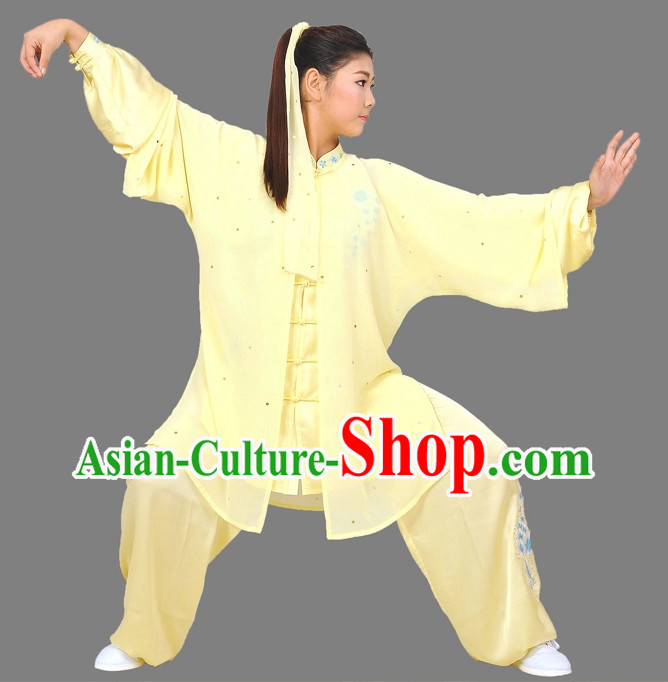 Light Yellow Martial Arts Competition Uniform and Mantle Complete Set