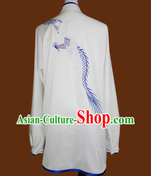 Top White Blue Dragon Embroidery Martial Arts Championship Competition Uniforms