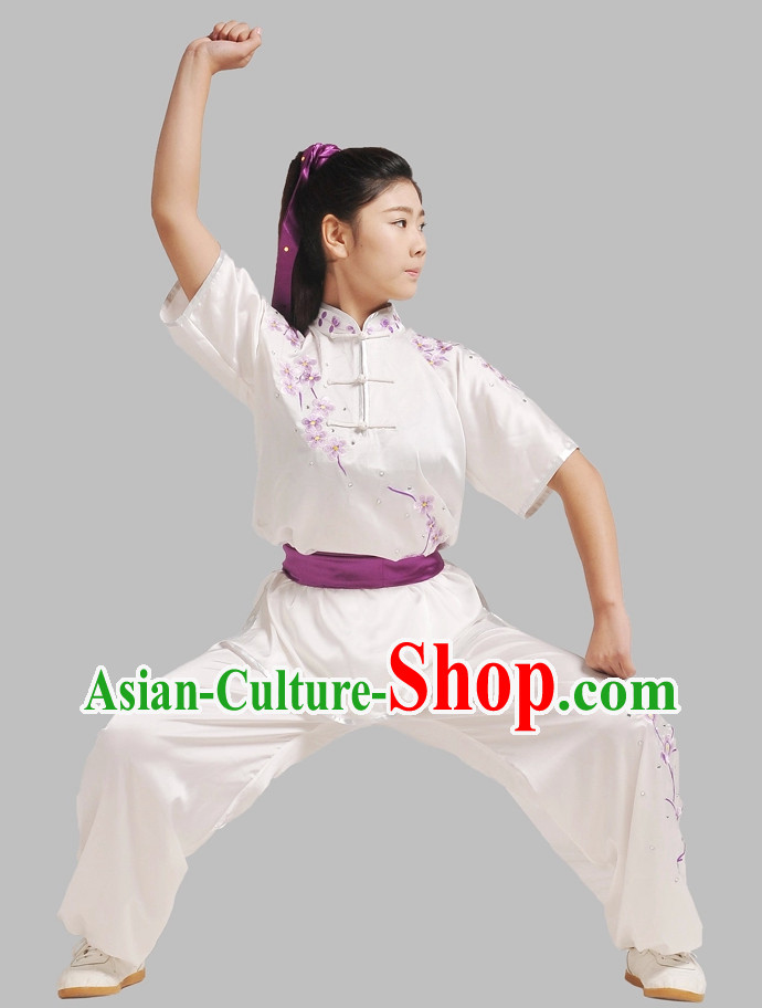Short Sleeves Embroidered Wushu Suit