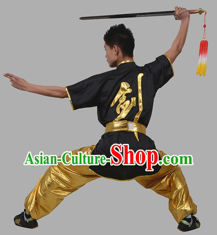 Short Sleeves Sword Chinese Character Kung Fu Uniform