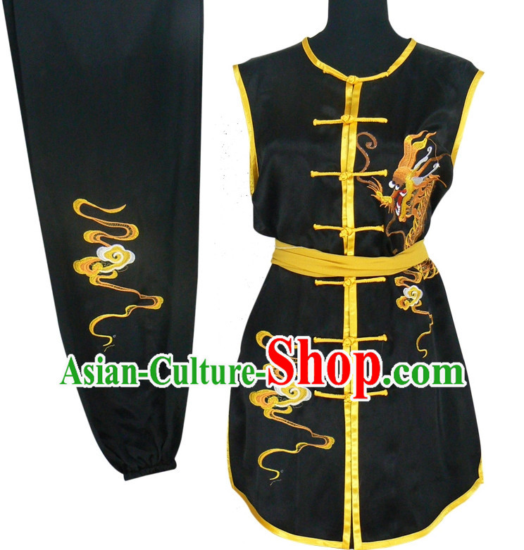 Top Dragon Embroidery Kung Fu Uniform Hapkido Wooden Dummy Marshal Arts Complete Set