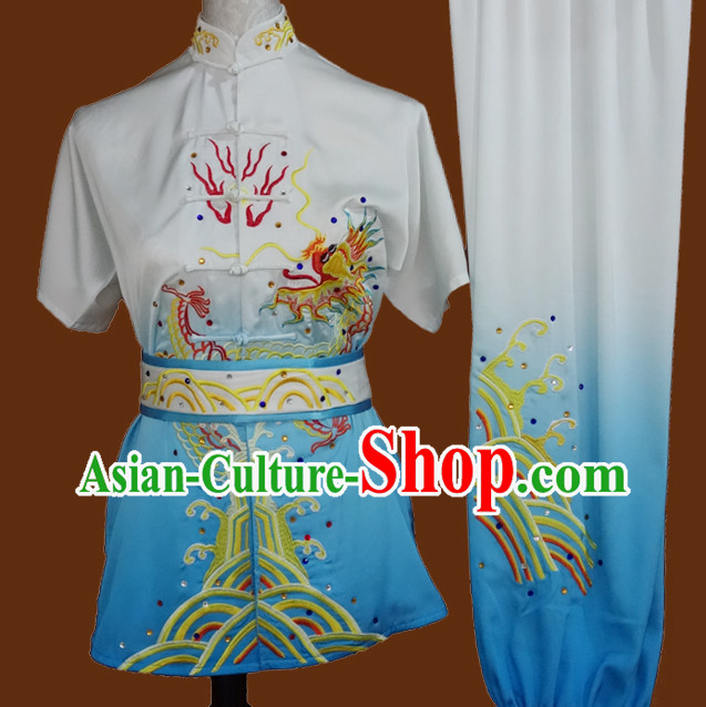 Top Short Sleeves Kung Fu Marshal Arts Wu Shu Uniform Complete Set