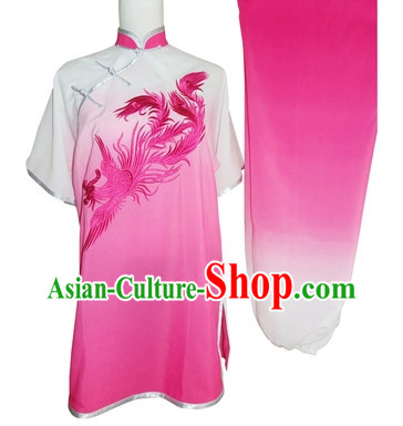 Short Sleeves Embroidered Phoenix Martial Arts Competition Suit