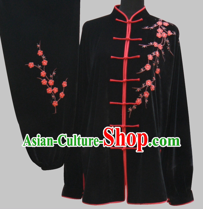 Tradtiional Black Plum Blossom Embroidery Velvet Tai Chi Chuan Competition Suit