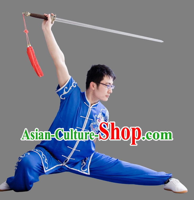Top China Blue Embroidered Martial Arts Suit