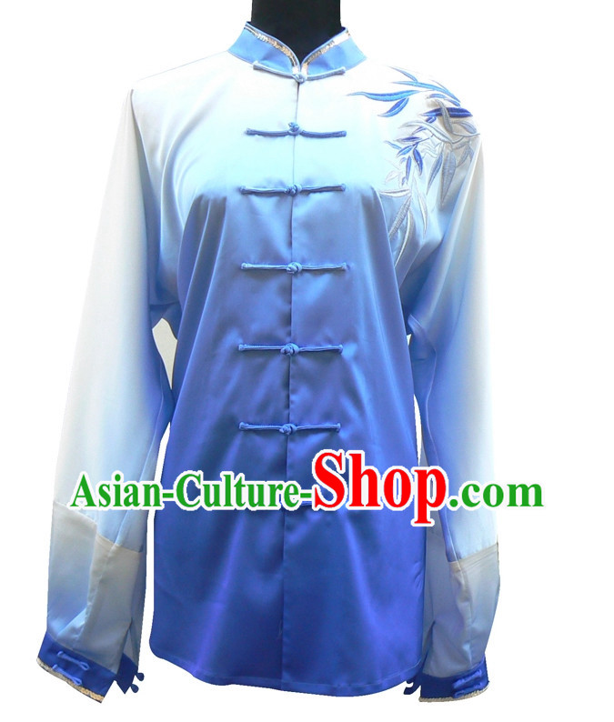 Top China Color Transition Embroidered Bamboo Taiji Suits