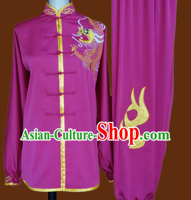 Top China Dragon Embroidery Purple Taiji Suit