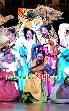 Korean Civilian Hanbok Dancing Costumes Carnival Costumes Traditional Costumes for Women
