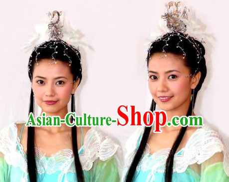 Chinese Classical Long Black Wig and Coronet