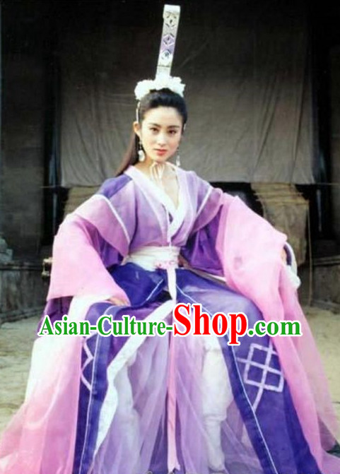China TV Drama Heroine Clothing and Headpieces Complete Set