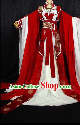 Chinese Ancient Hanfu Cosplay and Hair Jewellry Complete Set