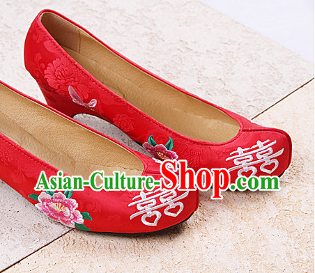 Korean Brides Wedding Bridal Red Shoes with Double Happiness Characters