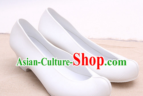 Pure White Korean Boat Shape Shoes for Women