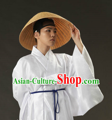 Korean Ancient Male Outfit and Bamboo Hat for Men