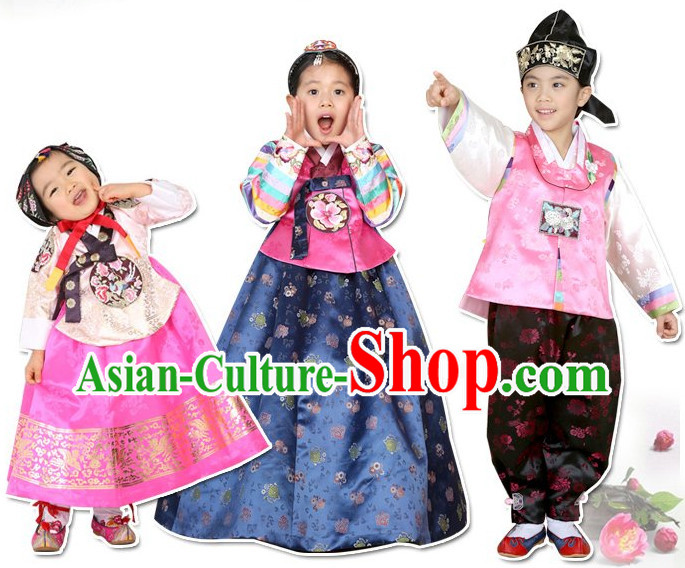 Top Traditional Korean Kids Fashion Kids Apparel Birthday Baby Clothes Three Sets