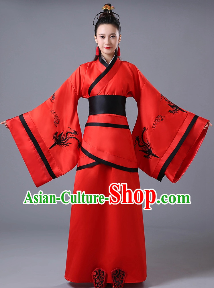 Chinese Lucky Red National Costumes for Women