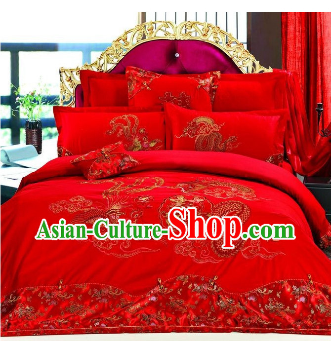 Chinese Dragon Phoenix Embroidery Bed Cover Six Pieces Set