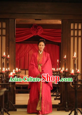 Chinese Traditional Red Wedding Dress Complete Set for Women