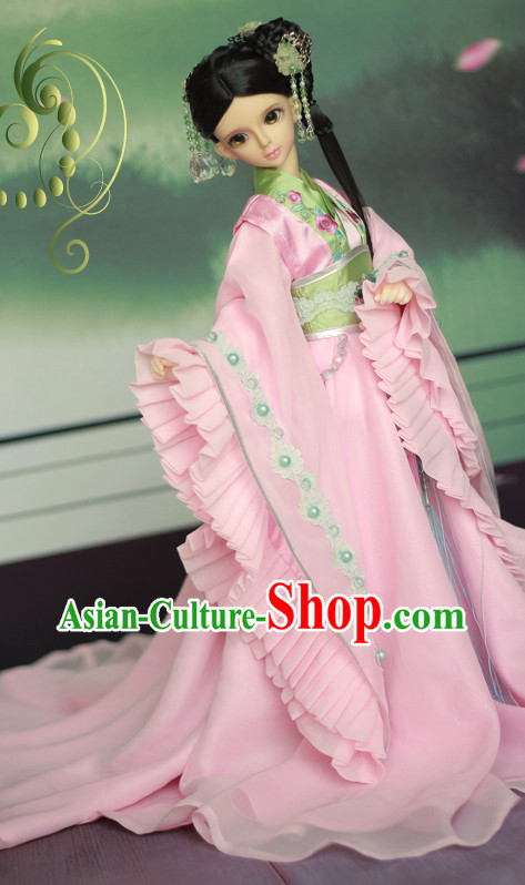 Chinese Traditional Pink Princess Clothes and Hair Ornaments Complete Set