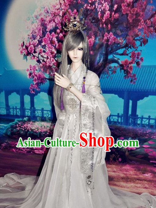 Asian Fashion Traditional Chinese National Dress and Crown for Men