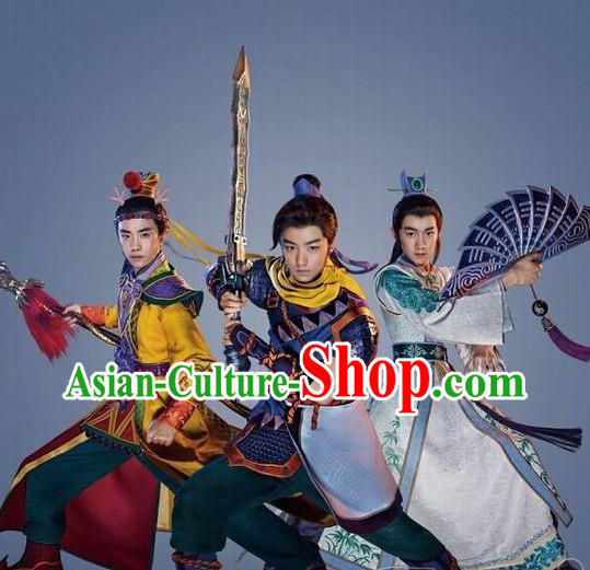Asian Fashion Traditional Chinese Knight Fan Costume for Men (the right one)