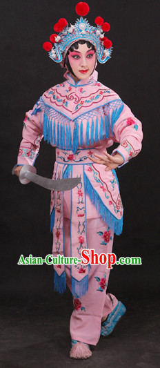 Classical China Beijing Opera Hua Dan Costumes and Hat Complete Set