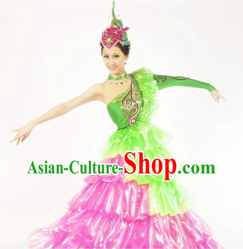Chinese Stage Performance Contemporary Costumes and Headwear for Women