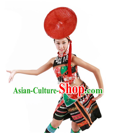 Chinese Dance Costumes Ethnic China Nationality Group Costumes for Women